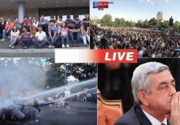 Протесты в Армении против повышения цен на электроэнергию 23 июня 2015 года Прямой эфир Трансляция